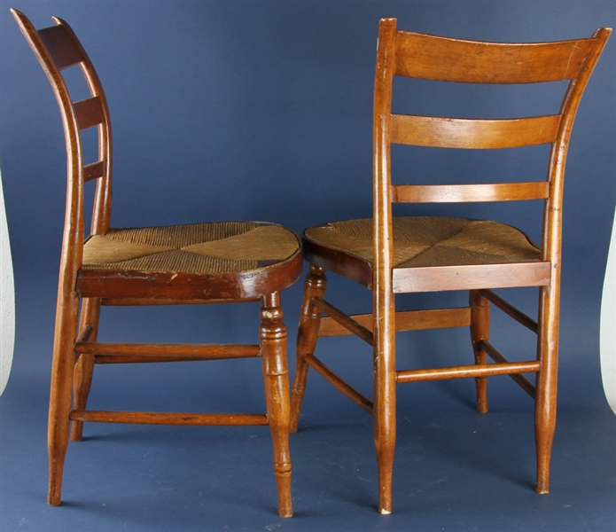 Set of Four Rush Seat Side Chairs
