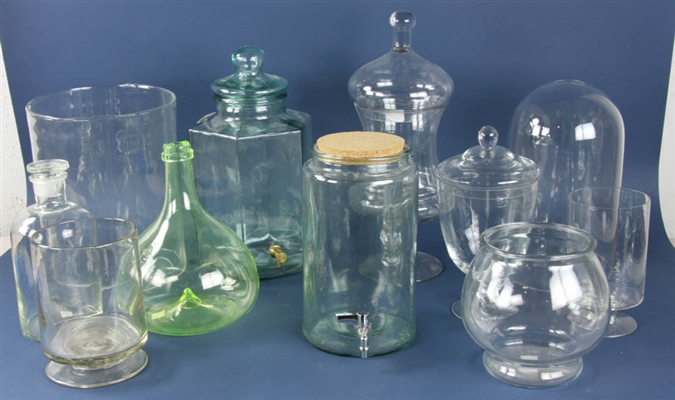 Group of (11) Glass Jars, Dispensers, Vases, etc.