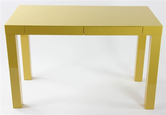 West Elm Yellow Lacquered Parsons Table