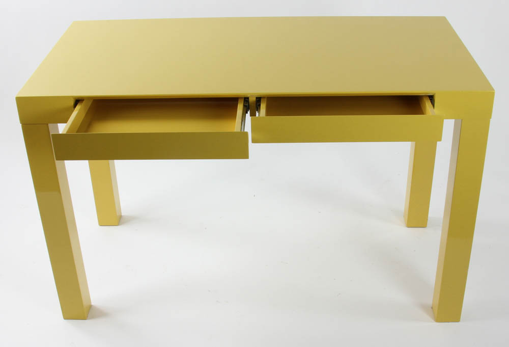 Lot Detail West Elm Yellow Lacquered Parsons Table