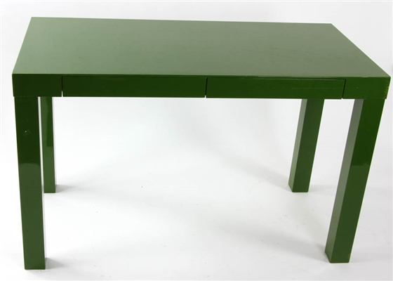 West Elm Green Lacquered Parsons Table
