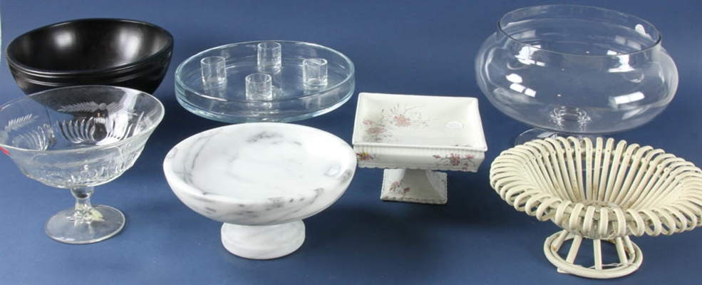 Group of Pedestal Serving Dishes