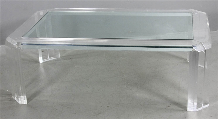 Mid-Century Lucite Table With Glass Top
