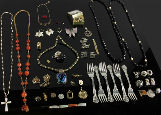 Collection of Costume Jewelry, Sterling Forks