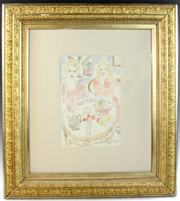 H Matisse Signed Watercolor Pen and Ink