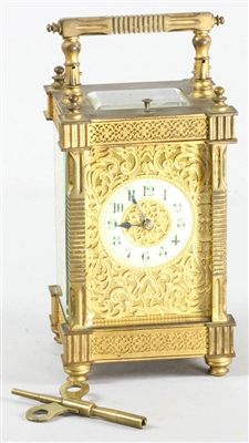 19thC French Gilt Bronze Carriage Clock