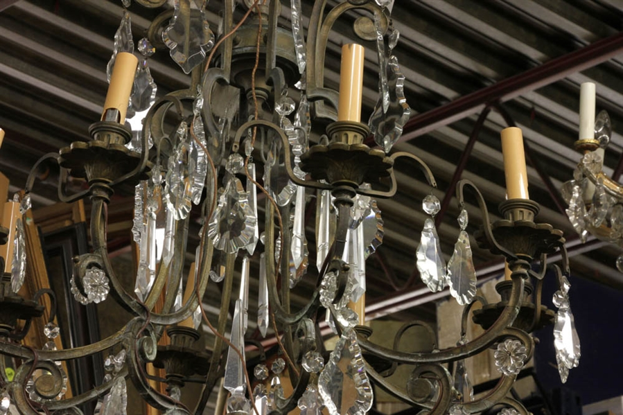 Antique Bronze And Crystal Chandelier