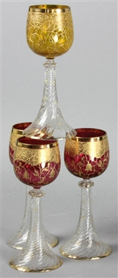 Four Moser Style Wine Glasses