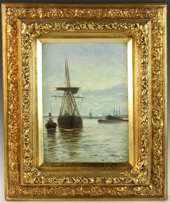 E. Fletcher View of Harbor in London Oil on Canvas