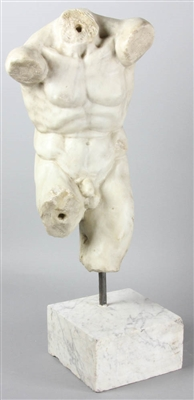 19th C Carved White Marble Torso