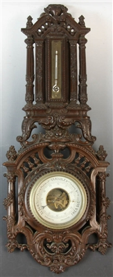 Antique French Carved Walnut Barometer
