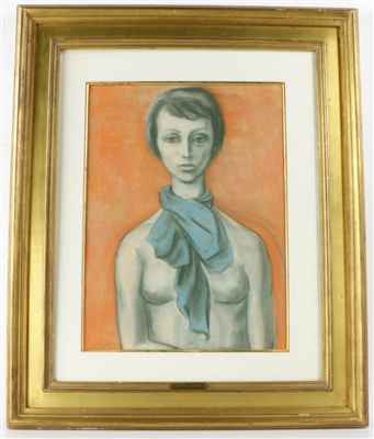 Cassigneul Signed, Woman w/ Scarf, Pastel Drawing