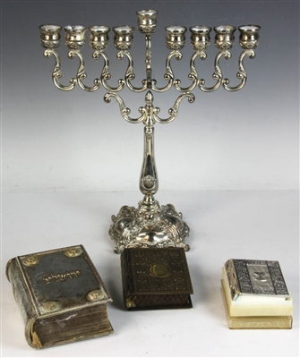 Judaica Grouping of Menorah, Books