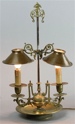 19th Century French Brass Candle Lamp