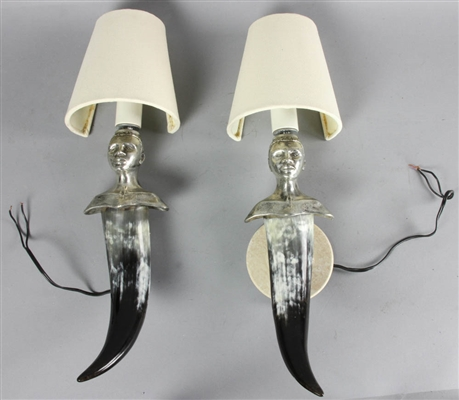 Cast Steel and Buffalo Horn Wall Sconces