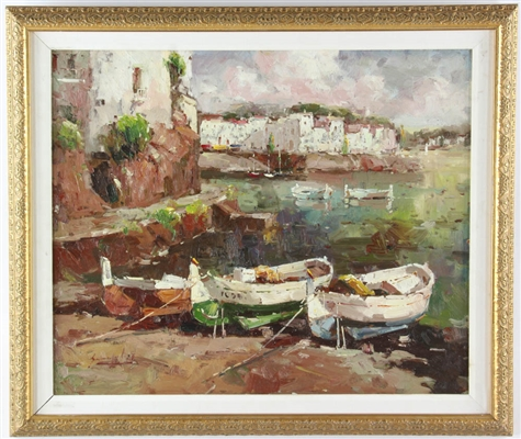 French Oil on Canvas River Scene