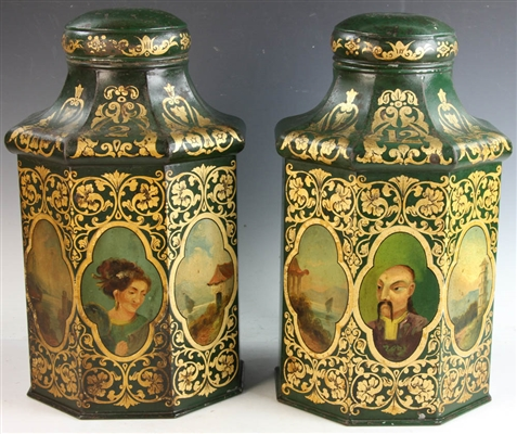 Pair of 19thC Chinoiserie Tea Canisters