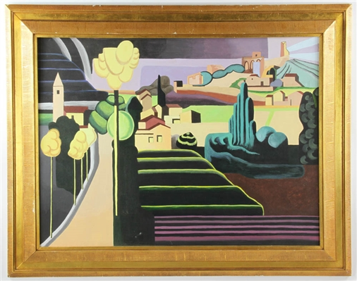 Oil on Canvas Modernist City View