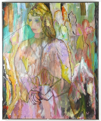 Abstract Oil on Canvas of Blonde Girl