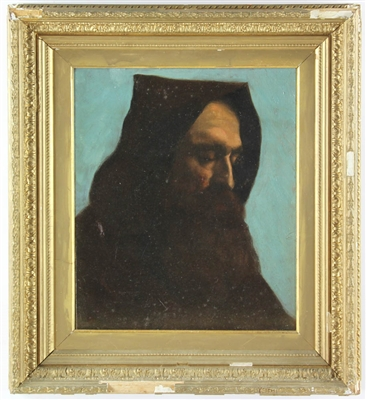 Late 19thC Unsigned Oil on Canvas Monk
