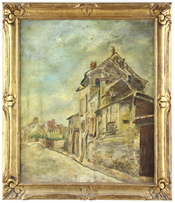 E. Laine 19thC Oil on Canvas Town Road