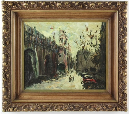 Marchande French Street View Oil on Canvas