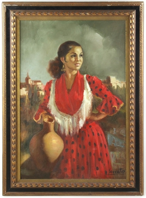Sercato Spanish Girl in Red Oil on Canvas