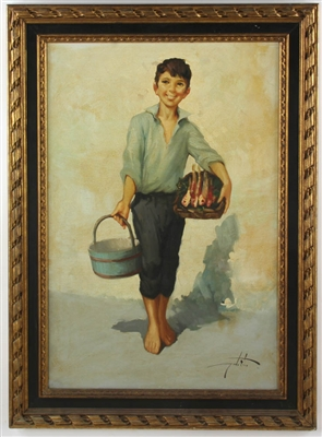 Oil on Canvas Italian Boy Carrying Fish