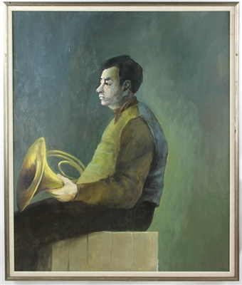 Charles Sibley Horn Player Oil on Canvas