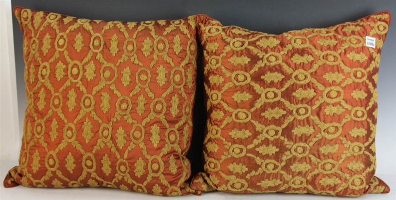 Pair of Fancy Embroidered Orange Pillows