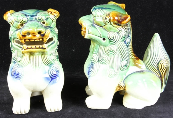 Pair of Ceramic Foo Dog Figures
