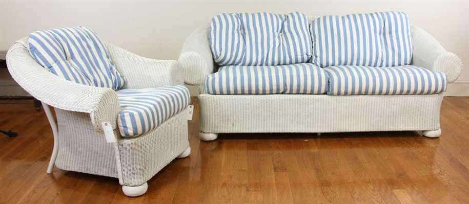 White Wicker Sofa and Matching Armchair