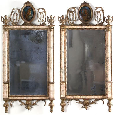 18thC Pair of Continental Bilbao Mirrors