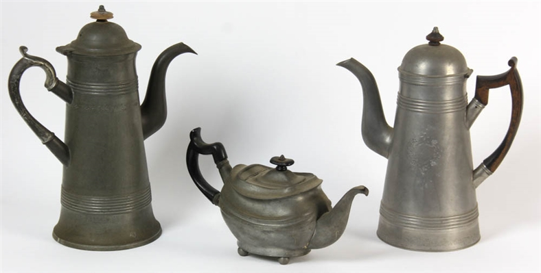 Colonial Period Pewter Coffee Tea Pots