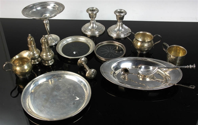 Group of Sterling Items, Trays, Dishes, etc.