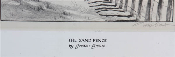 Gordon Grant, The Sand Fence, Lithograph
