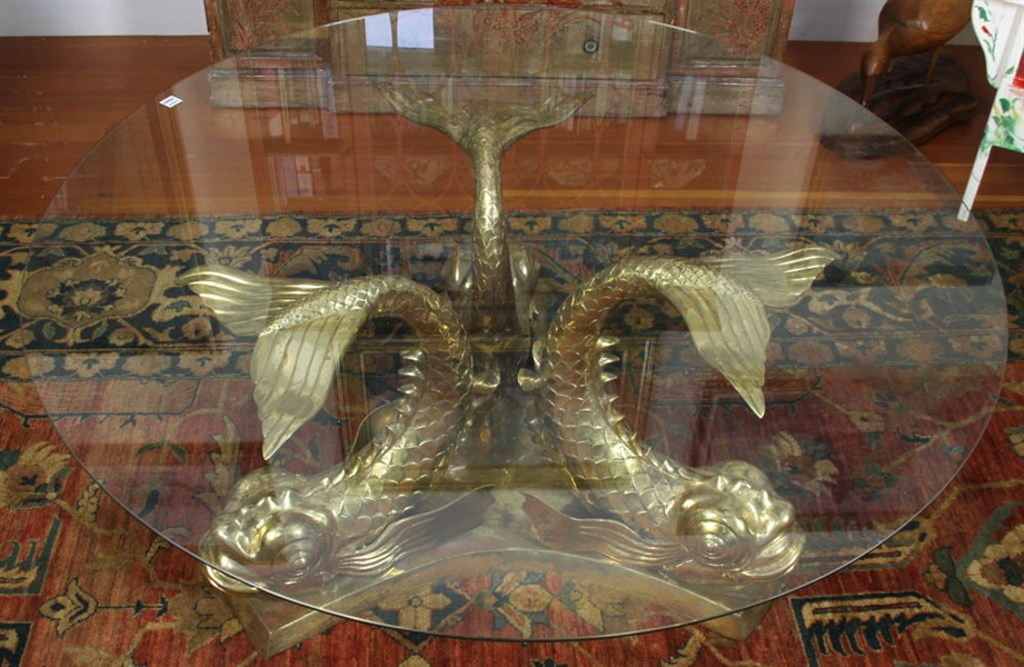 Coffee Table with Brass Dolphins Glass Top