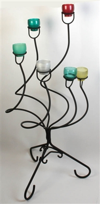 Candlestand with Colored Glass Votives