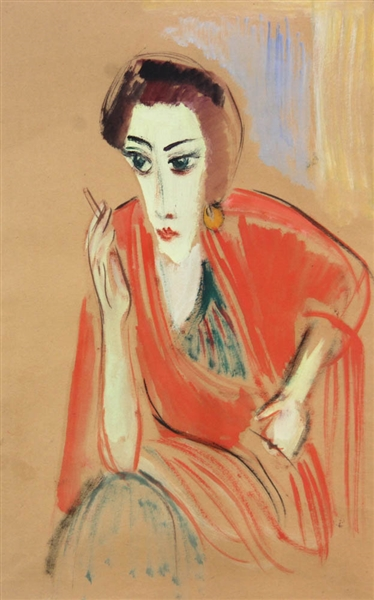 Woman with Cigarette, Gouache