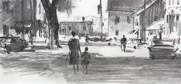 Frank Beatty, Street Scene, Pencil Gouache