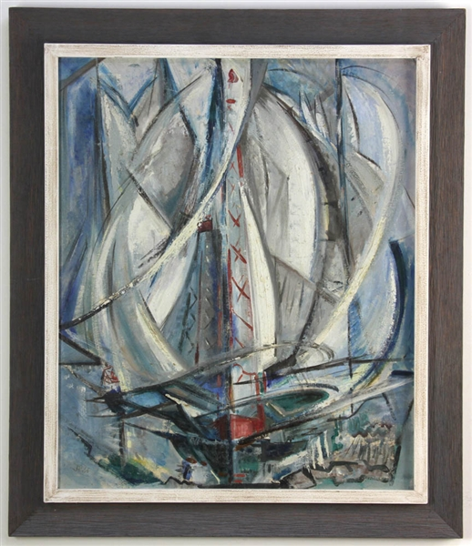 Abstract of Sailboats, Oil on Board