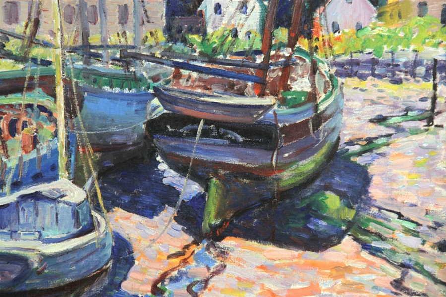 WP Teal, Boats at Pier, Oil on Canvas