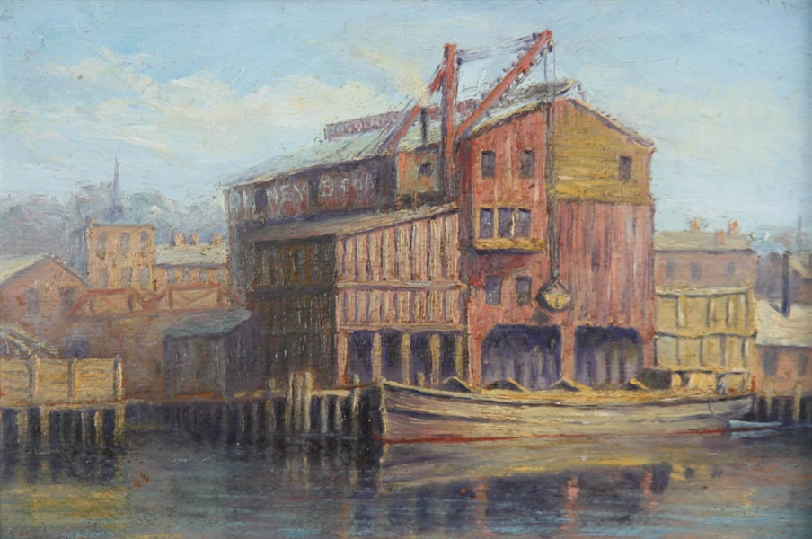 Gloucester Warehouse, Oil on Board