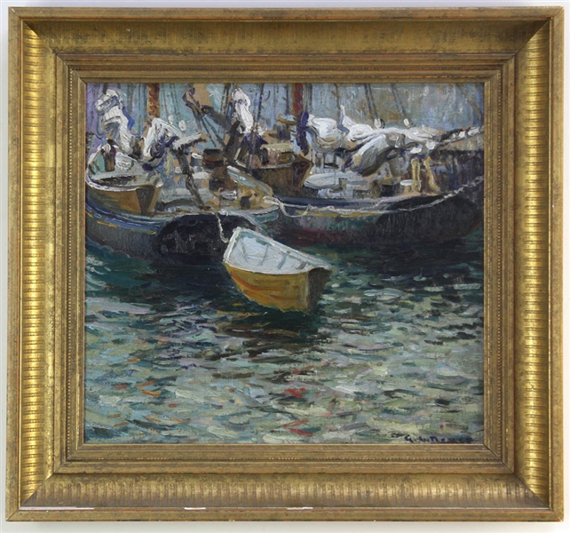 George L Noyes, Boats Tied Off, Oil on Board