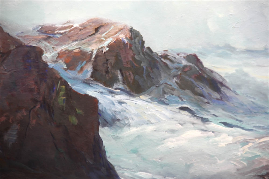 Roger Curtis, Crashing Waves, Oil on Canvas