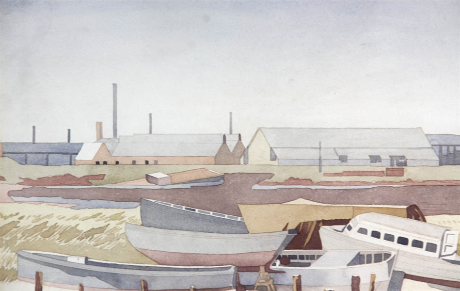 Fred W Fish, Boats in Drydock, Watercolor