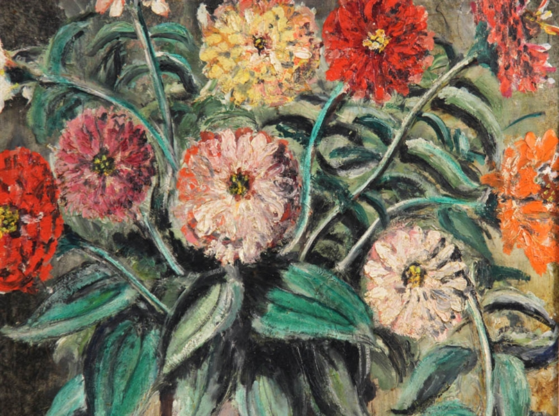 David Burliuk, Zinnias, Oil on Board