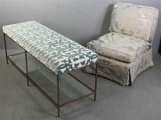 Metal Framed Bench and Slipper Chair