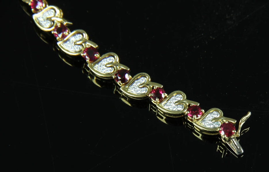 Tiffany 18k Heart Shape Ruby Diamond Necklace