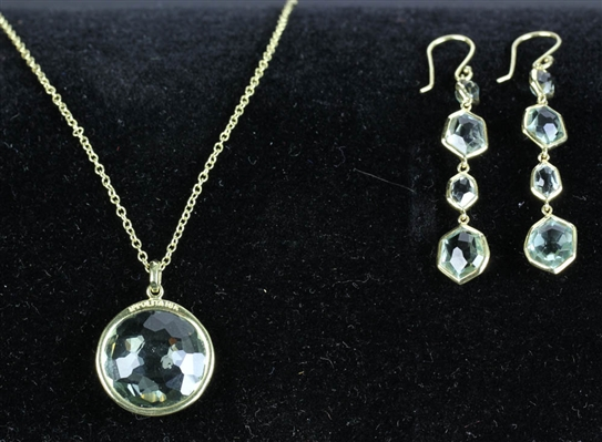 Ippolita 18k Topaz Pendant Necklace and Earrings